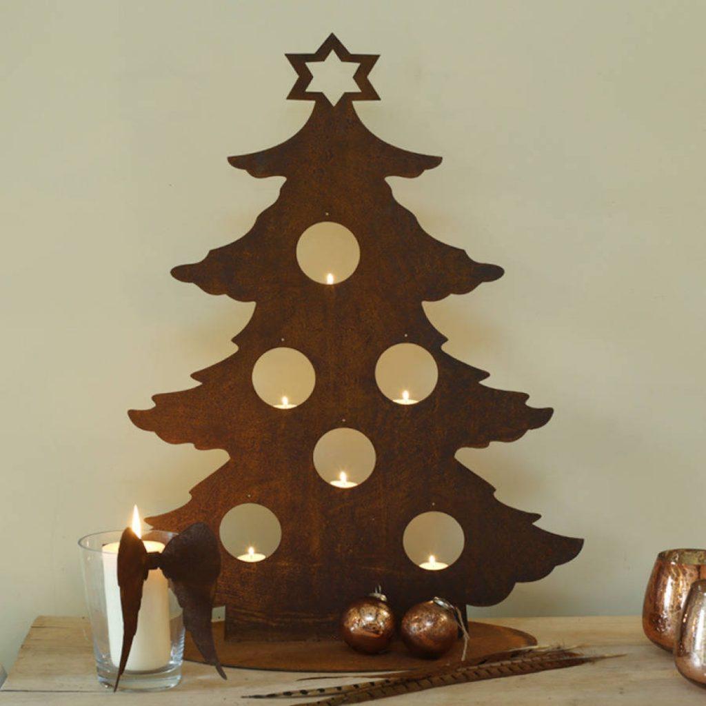 Alternative christmas tree made of wood steel and